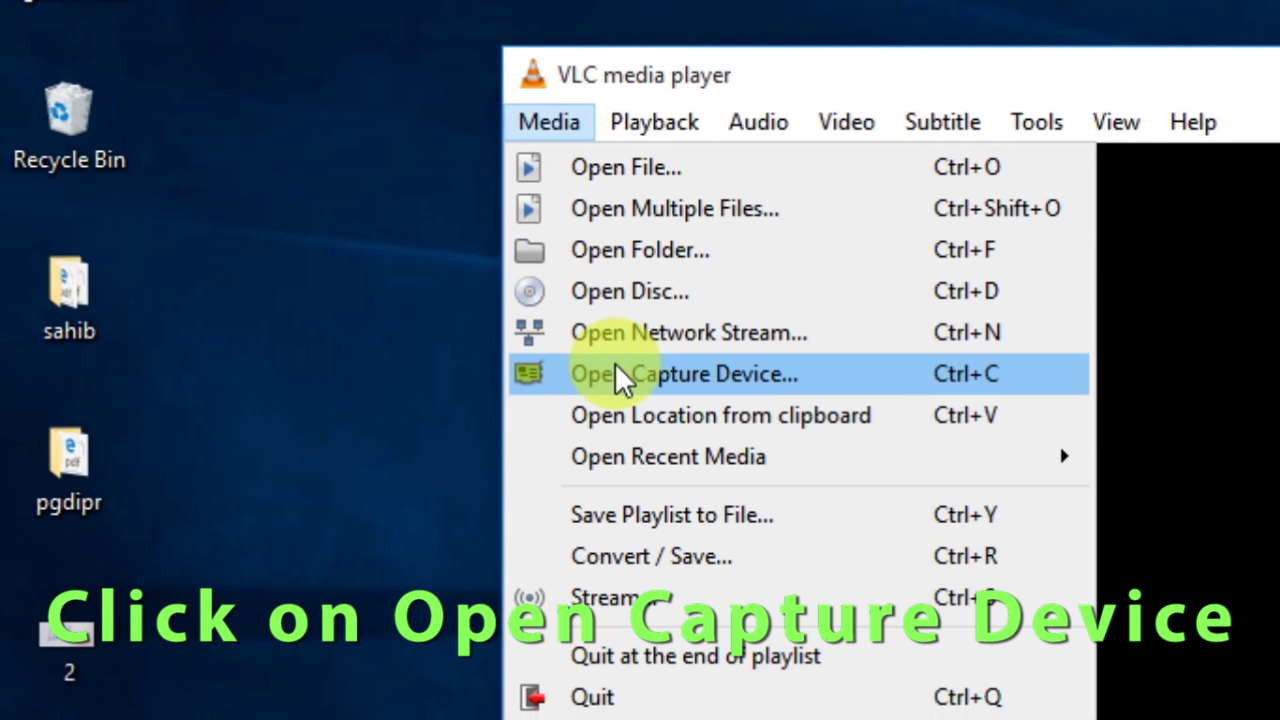 Picture of 3::  Click on Open Capture Device