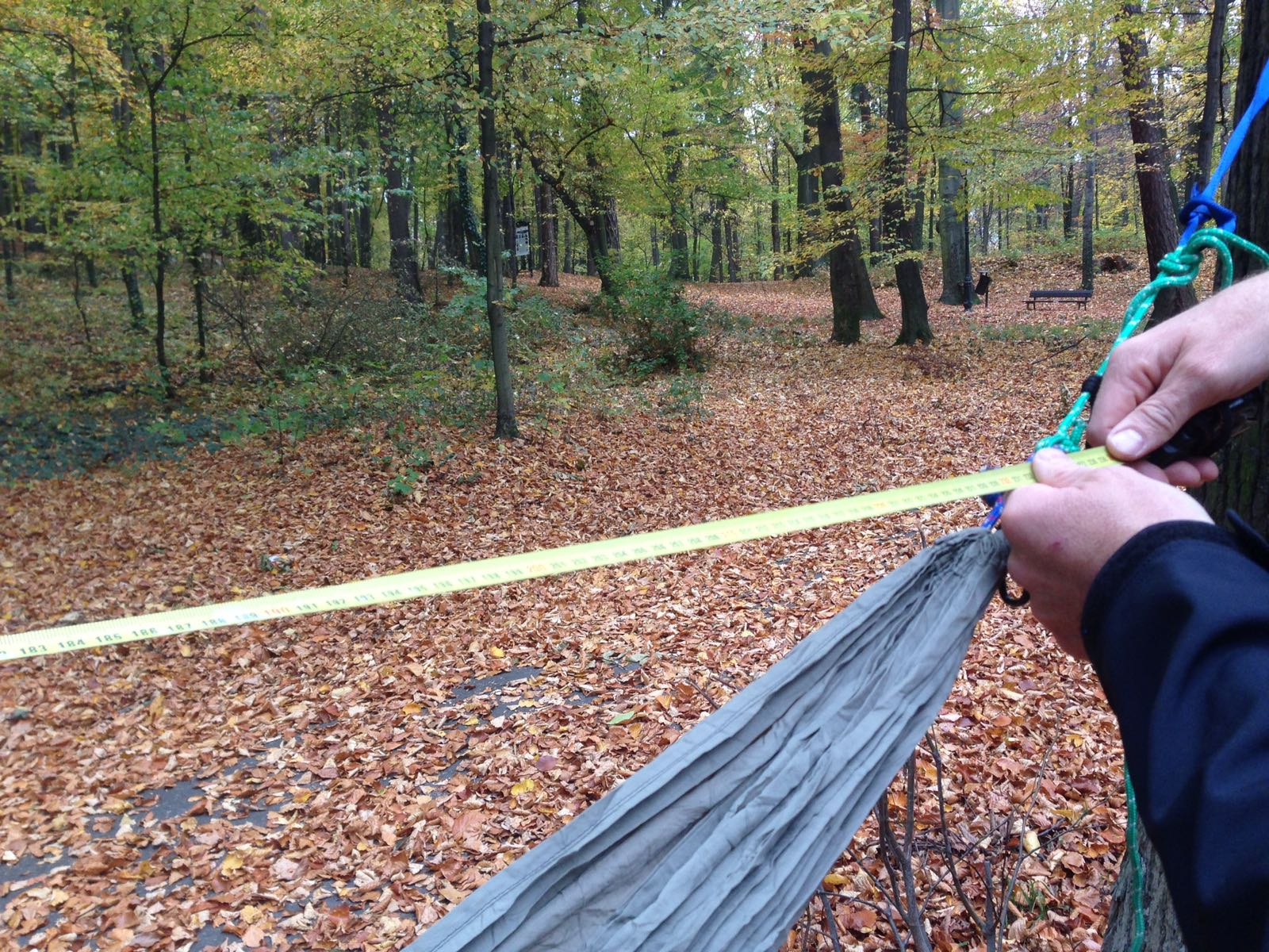 Picture of Measure the Length Between the End Points of Your Suspended Hammock.