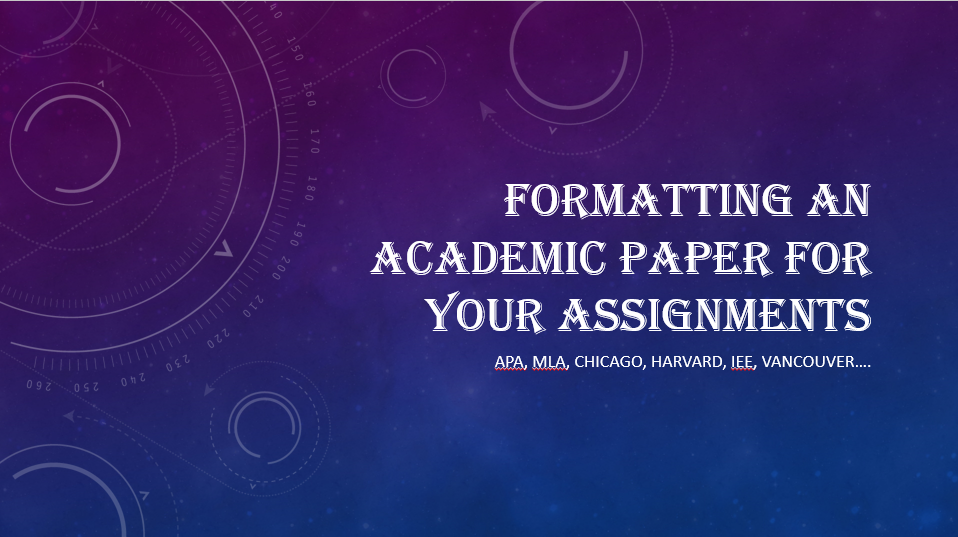 Picture of Formatting an Essay Assignment in APA,MLA,Chicago,Harvard,IEEE,Vancouver