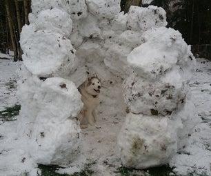 DIY Dog Snow Fort