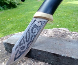 Handmade knife and Acid etching