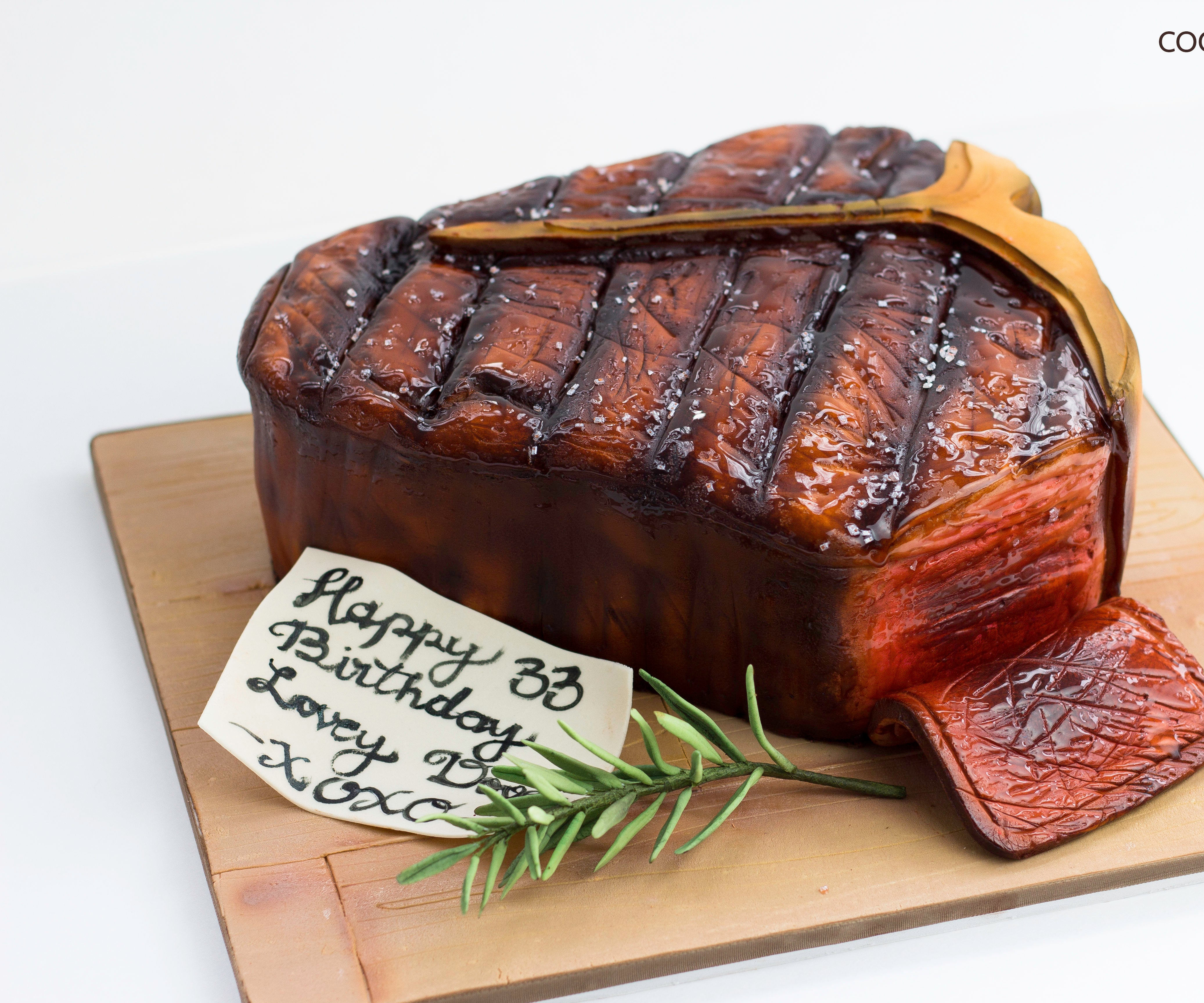 Outstanding Realistic Porterhouse Steak Cake 7 Steps With Pictures Funny Birthday Cards Online Inifofree Goldxyz