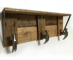 Rustic Shelf With Hammer Head Hooks