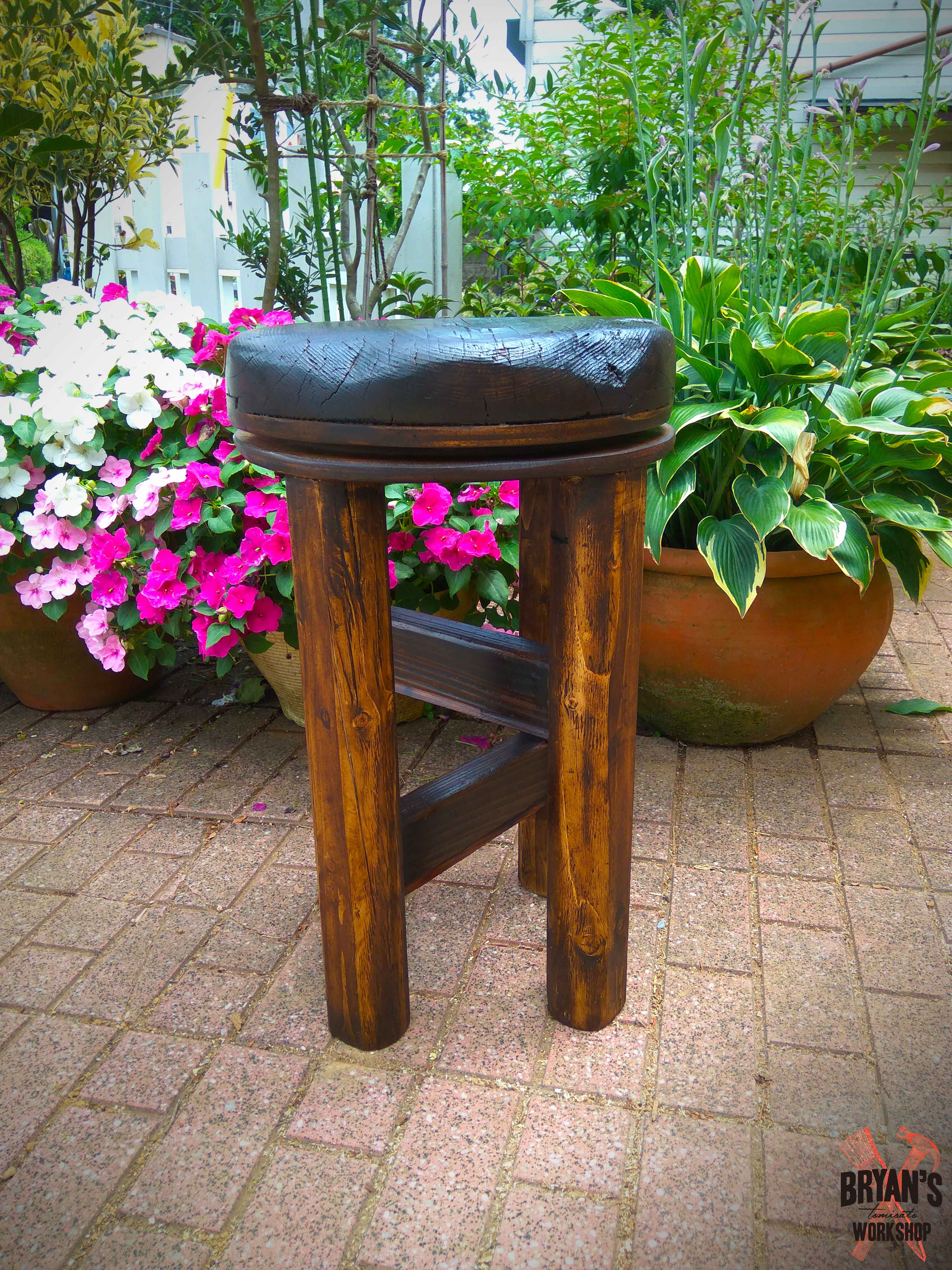 Picture of Swivel Stool Using an Antique Japanese Pot Lid!