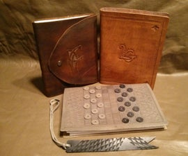 Leather Bound Book With Replaceable Pages And Built In Checkers Game