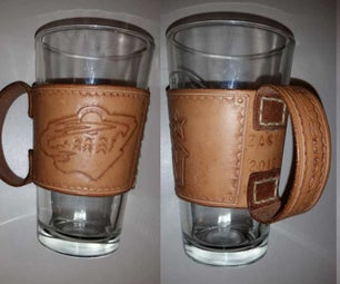 Leather Beer Glass Zarf With Handle