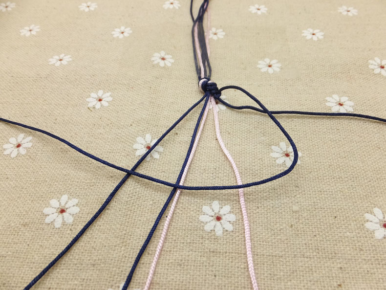 Picture of Once You Have Knotted the Outer Right Cord to the One Next to It, Do the Same to the Next Cord Closer to the Middle.