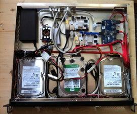 Low power ARM based file server using up to 5 desktop harddisks.