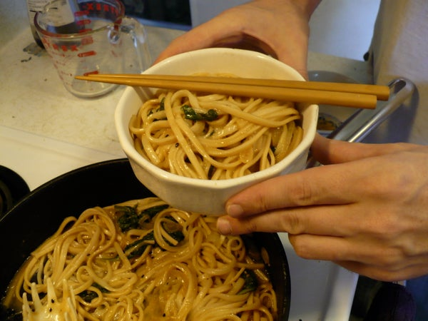 Udon Noodles in Miso Sauce