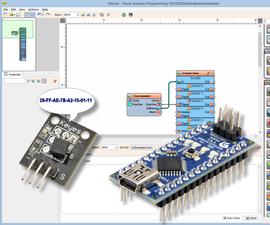 Arduino Nano: Reading DS1820/DS18S20 Maxim One Wire Thermometer Address with Visuino
