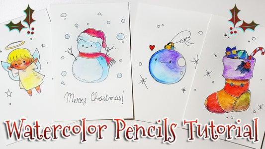 4 DIY CHRISTMAS CARDS WITH WATERCOLOR PENCILS | KAWAII DRAWINGS