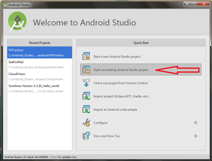 Picture of Open the SeeForMe Project in Android Studio