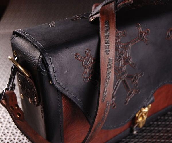 Custom Tooled Leather Briefcase / Messenger Bag