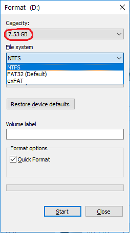 Picture of Format USB Flash Drive to FAT/FAT16 (not FAT32)