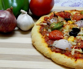 Vegetarian pizza from flour to oven..!!