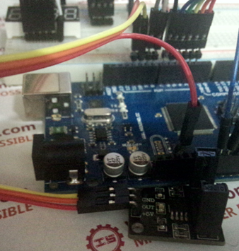 Picture of  the Connection of  Infrared Correlation Sensor Module