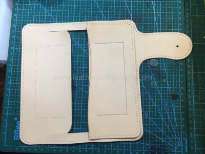 "Sew Bill Slot on Lining. Only Sew the ""]"" Shape Stitching Line."