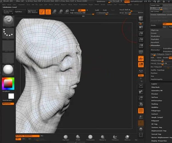 ZBrush: High Poly Sculpt to Low Poly Mesh and Normal Map Workflow