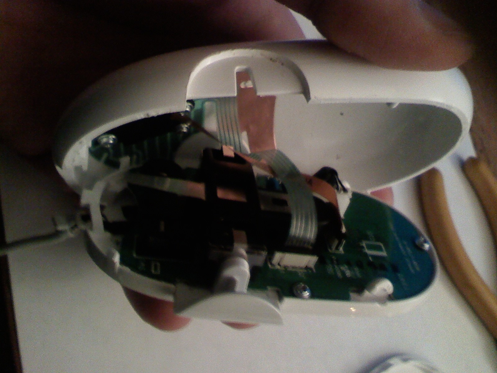 Picture of Opening the Mouse - Be Careful of the Flat Cables and Side Buttons
