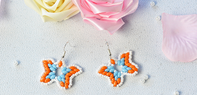 Picture of Pandahall Tutorial - How to Make a Pair of 2-Hole Seed Bead Butterfly Earrings