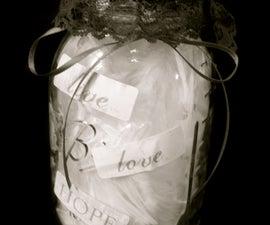 Valentines scrapbook in a jar.