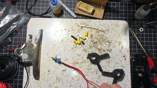 Solder,Tin and Add Barrier Blocks to the Switch and DC Jacks.