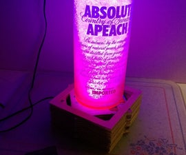 Glowing glass shard coated bottle lamp *16 color LED w/ Remote*