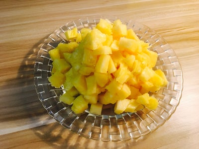 Cut the Pineapple Into Small Pieces.