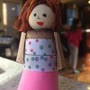 Cork girl finger puppet