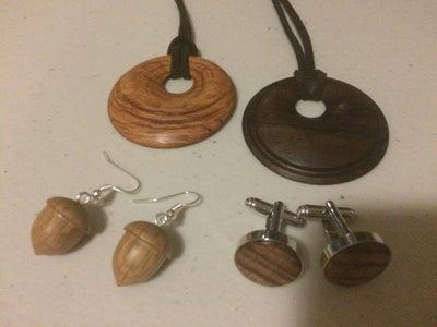 Timber Jewelry - Necklace Pendants, Cufflinks, Ear Rings