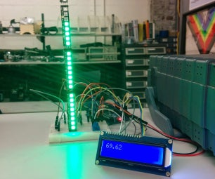 """Indoor Thermometer With Both LCD and """"Analog"""" Readout With NeoPixels"""