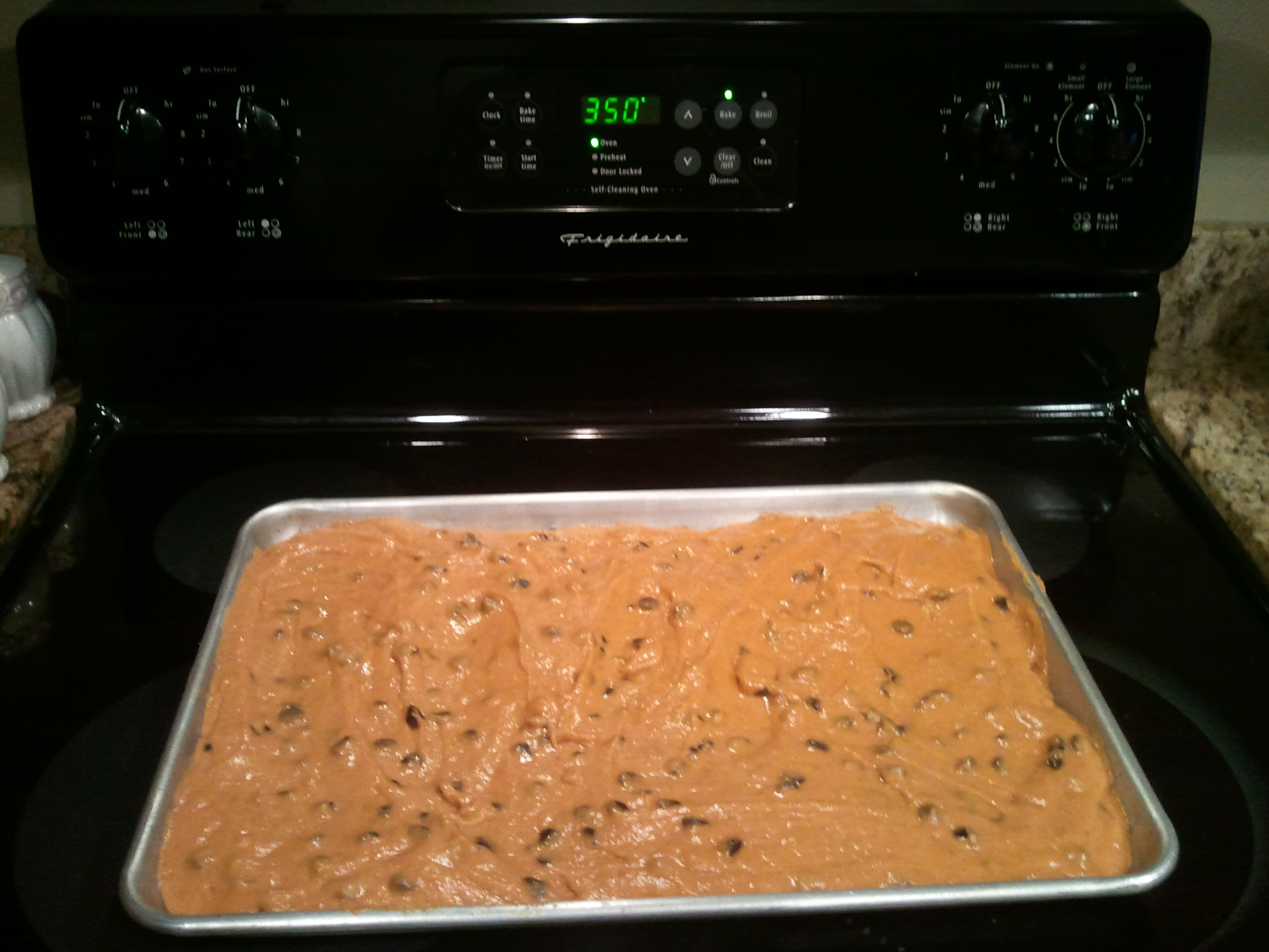 Picture of Pour Mixture Into Non Greased 15x10x1 Baking Pan. Bake at 350 for 25-30 Minutes.