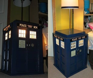 Light Up Tardis Bedside Table With Built in Lamp