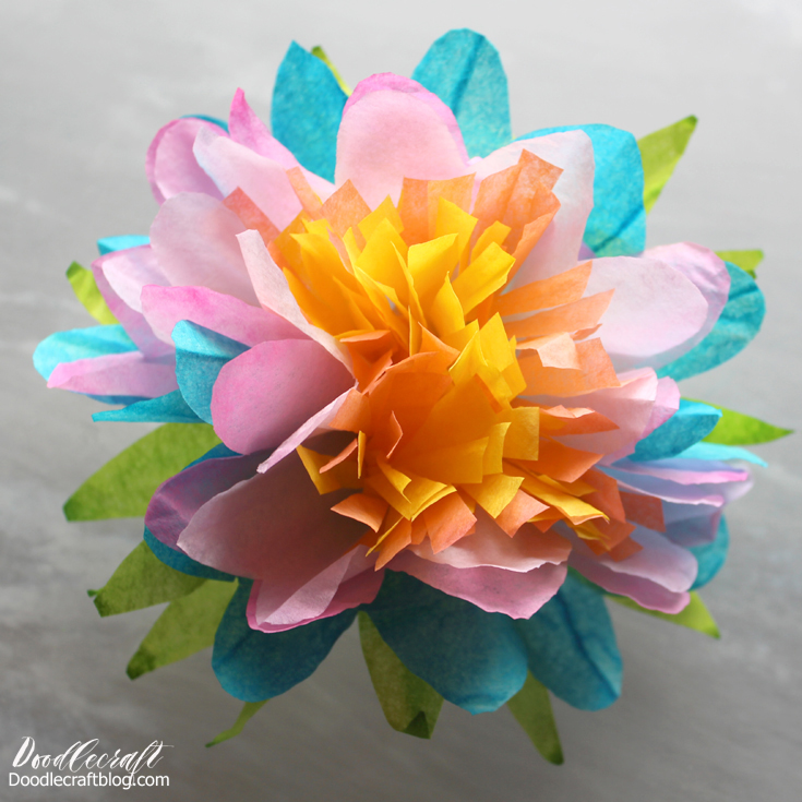 Picture of Dip Dyed Coffee Filter Paper Flower Wreath