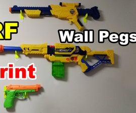NERF Wall Peg Hanger 3D Printed