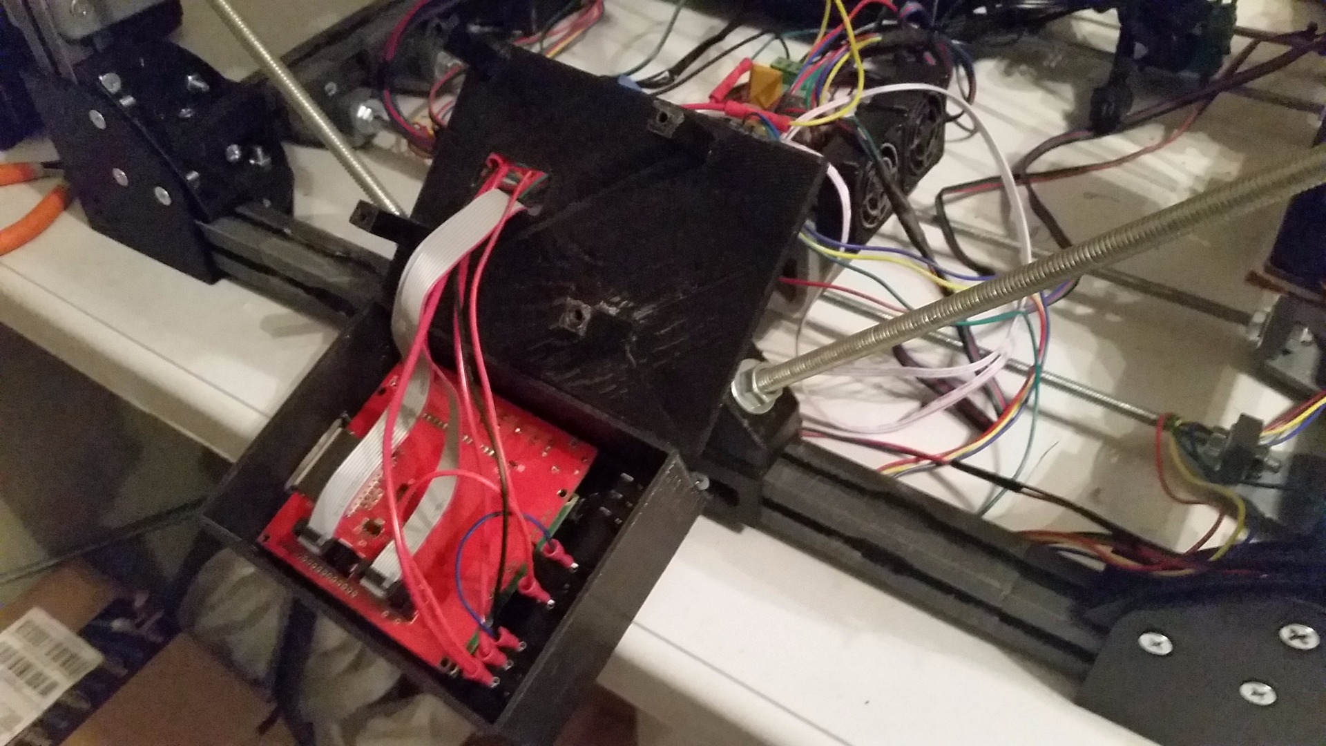 Picture of LCD Assembly, Ramps 1.4, and Endstops, Misc. Electronics