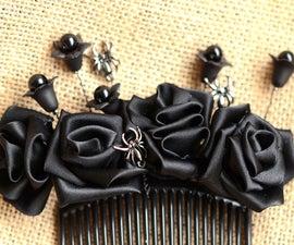 Halloween Hair Accessory of a Ribbon Flower Hair Comb