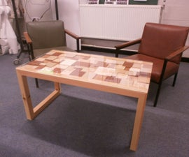 Abstract coffee table (recycled wood table top)