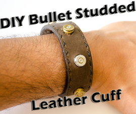 Bullet Casing Studded Leather Cuff
