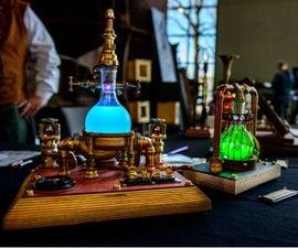 UV-Fluorescence Steampunk Lamp