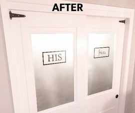 Sliding Farmhouse Hollow Core Closet Doors with Frosted Glass