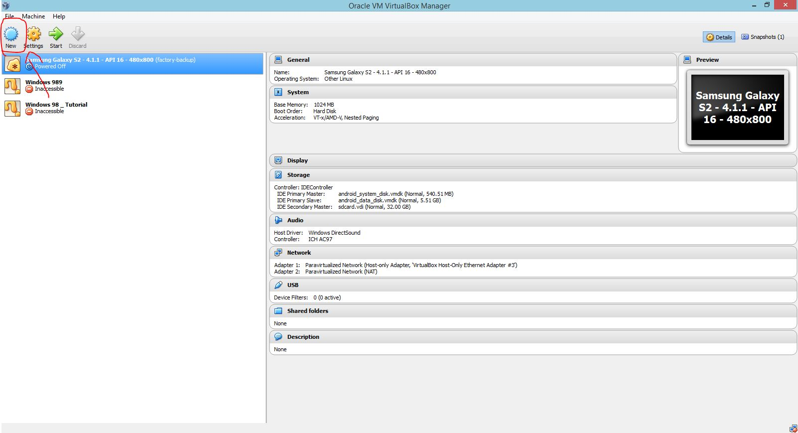 Picture of Open Oracle Virtual Box and Click New