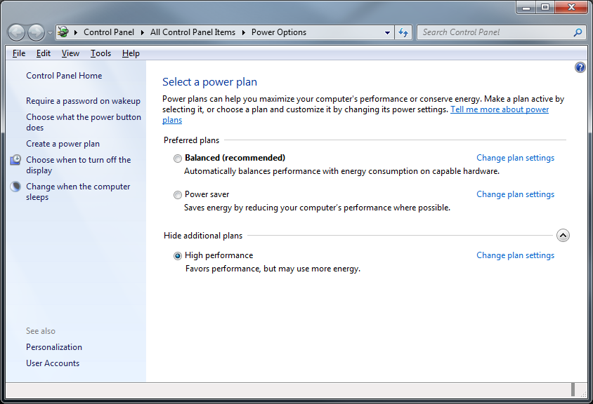 Picture of Set Energy Settings to High Performance