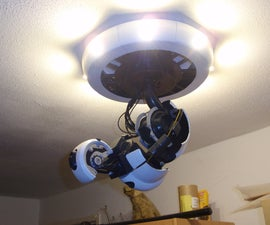 A fully 3D printable GlaDOS Robotic ceiling arm lamp