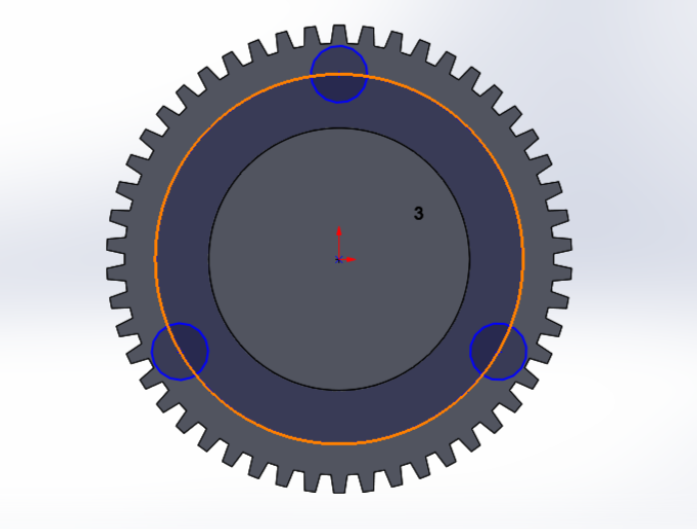 """Picture of Use Circular Pattern to Sketch Two More Symmetrical Circles Onto the Base and Then """"Extrude Cut"""" All Three of Them All the Way Through the Bottom of the Base"""